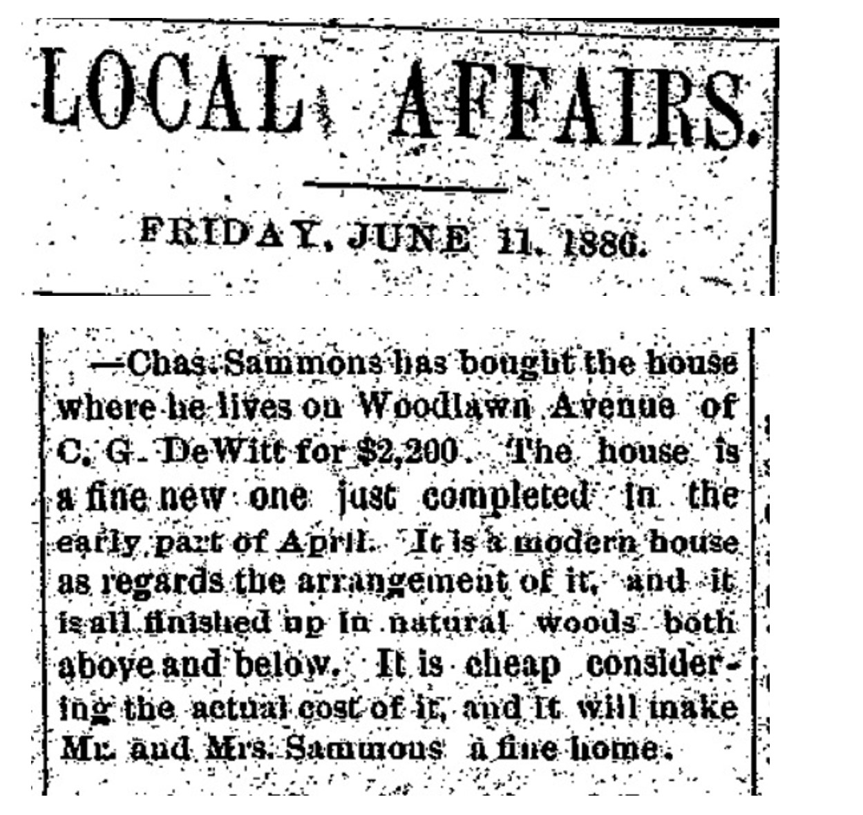 Woodlawn25SammonsBuysFromCGDewittFairptHld6.11.1886